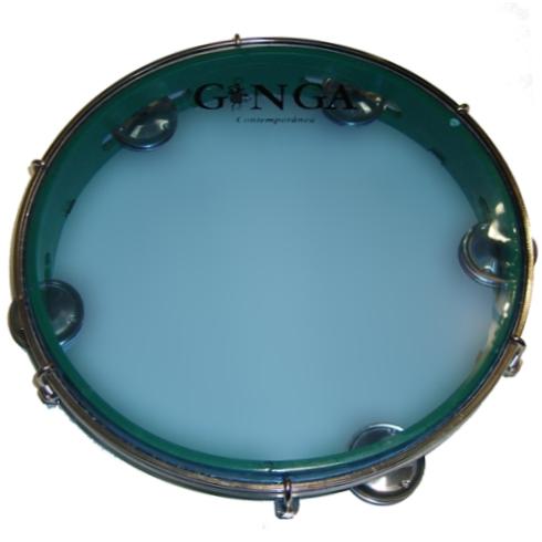 Ginga Pandeiro Plastik grün_Fell blau